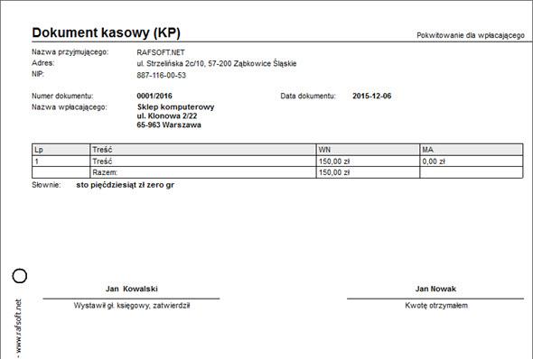 Kasa - Kasa - Druk KP/KW - Dobry program do wystawiania faktur