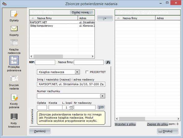 Druki pocztowe - Książka nadawcza - Program do wypisywania faktur
