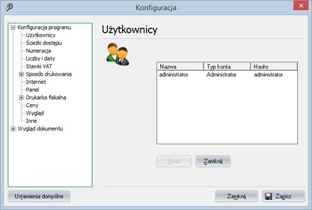 Podstawowe - Konfiguracja programu - Faktury program