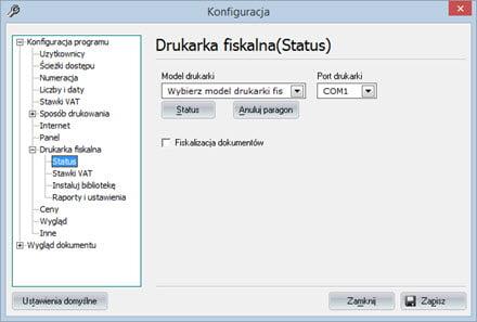 Podstawowe - Konfiguracja programu - Faktury vat oprogramowanie