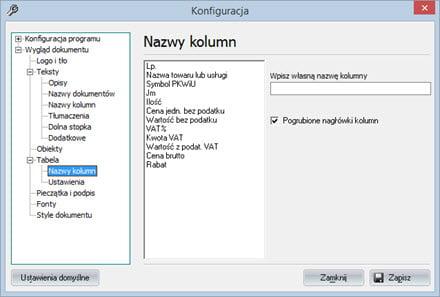 Podstawowe - Wygląd dokumentu - Program wystawianie faktur