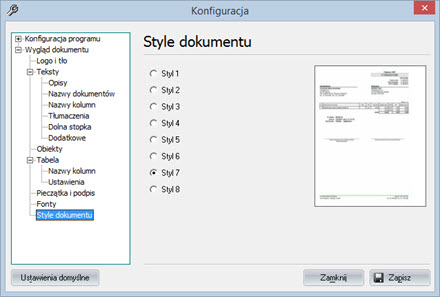 Podstawowe - Wygląd dokumentu - Program faktury