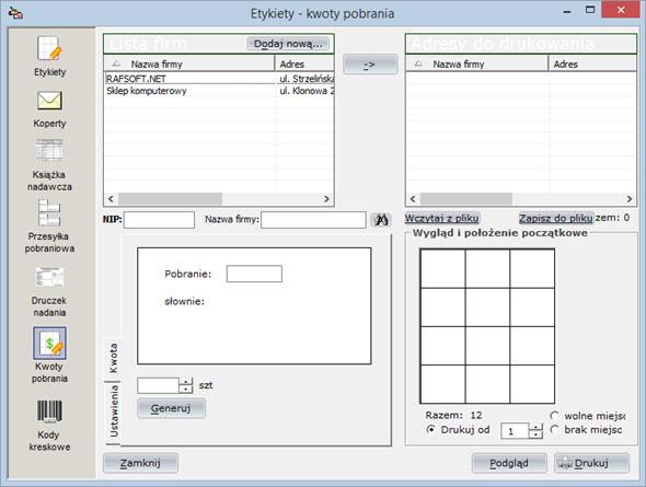 Druki pocztowe - Kwoty pobrania - System do fakturowania