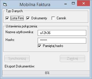 Inne - Mobilna Faktura - Synchronizuj - Program faktura