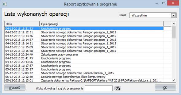 Statystyki - Raport programu - Faktury program