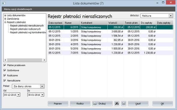 Płatności - Rejestr płatności - Program fakturowania