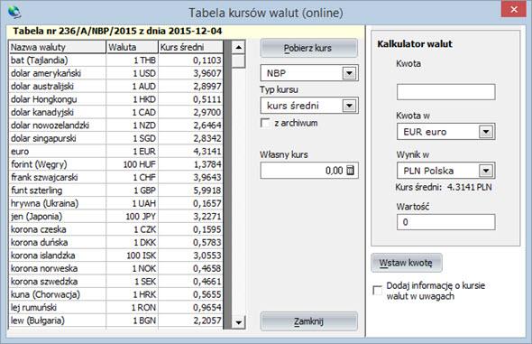 Inne - Inne - Kursy walut - Program fakturowania