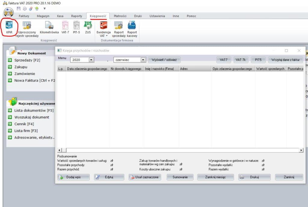 KPiR - ekran 1