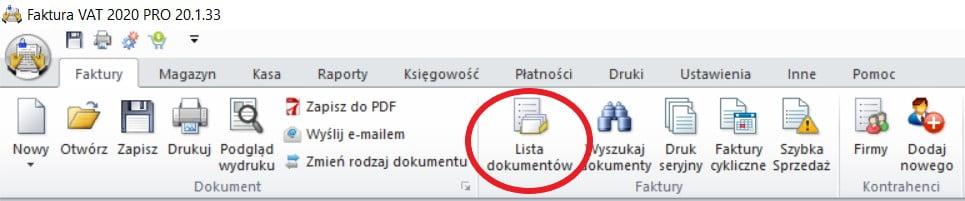 lista dokumentów
