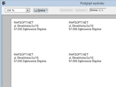 Druki pocztowe - Adresowanie etykiet - Faktury vat oprogramowanie
