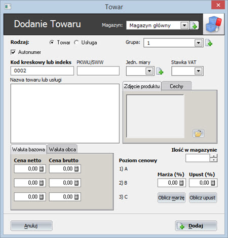 Kody kreskowe - Program do wypisywania faktur