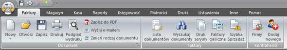 Elementy składowe programu - Ekran główny - Program do generowania faktur