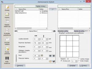 Druki pocztowe - Adresowanie etykiet - System do fakturowania