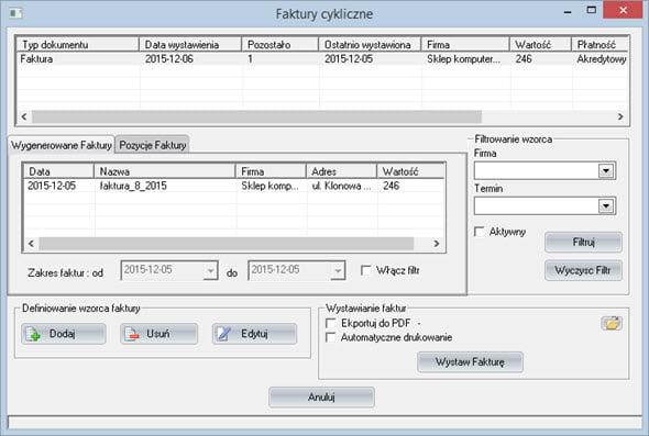 Faktury - Faktury - Faktury cykliczne - Program do faktur