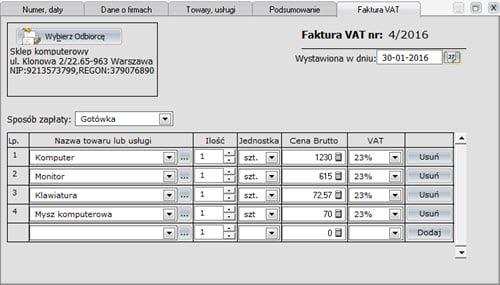 Faktury - Dokument - Tworzenie nowego dokumentu sprzedaży - formatki - Program do faktur offline
