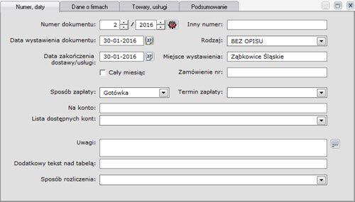 Faktury - Dokument - Nowy dokument zakupu - formatki - Program do pisania faktur