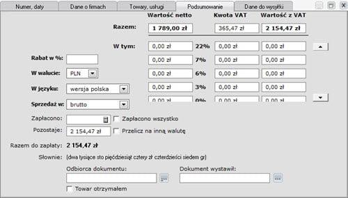 Faktury - Dokument - Nowy dokument zamówienia - formatki - Program fakturowania