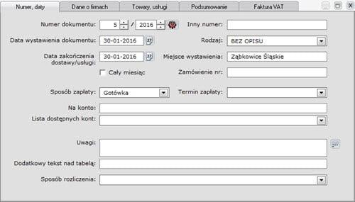 Faktury - Dokument - Tworzenie nowego dokumentu sprzedaży - formatki - Program faktura vat