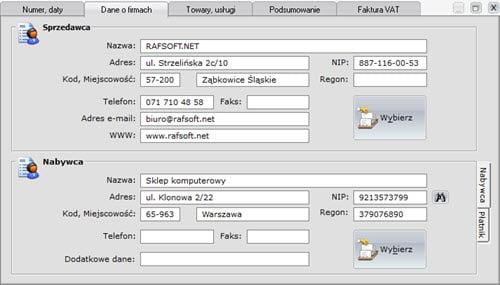 Faktury - Dokument - Tworzenie nowego dokumentu sprzedaży - formatki - Program do faktur