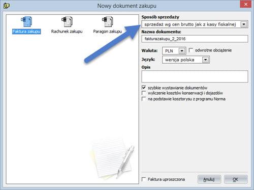Dokument - Nowy dokument zakupu - Program do wypisywania faktur