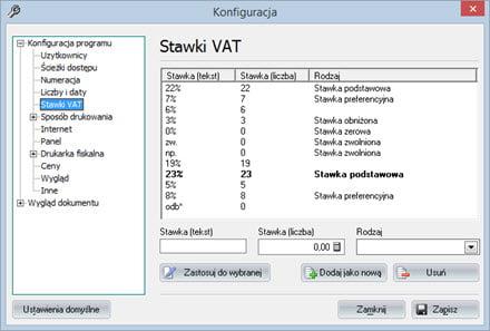 Ustawienie stawek VAT - Program faktura vat