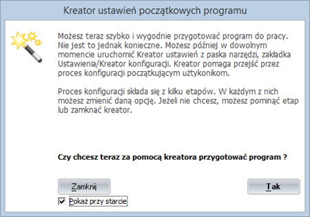 Kreator ustawień początkowych - Dobry program do wystawiania faktur