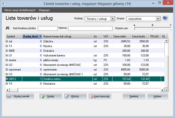 Tworzenie paragonu - Program do wypisywania faktur