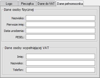 Edycja danych podatnika - Program wystawianie faktur