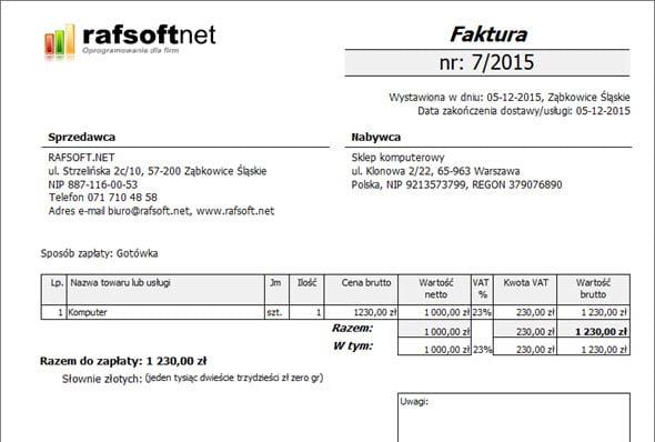 Rejestr płatności - Program do wypisywania faktur