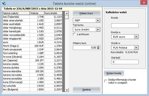 Kursy walut - Program do faktur vat
