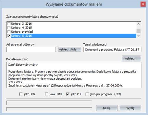 Faktury - Dokument - Wyślij dokument e-mailem - Program do wypisywania faktur