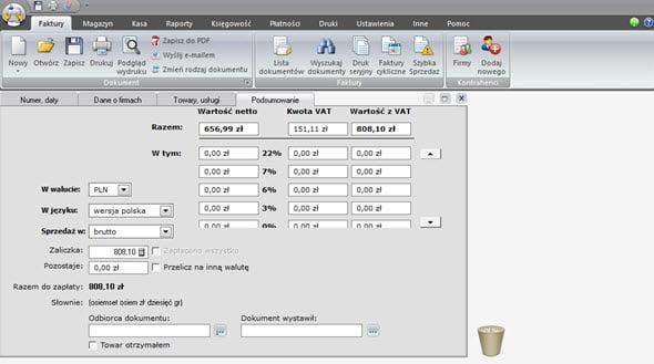 Tworzenie faktury zaliczkowej i końcowej - Fakturowanie