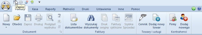 Faktura VAT - interfejs programu
