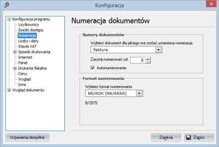 Podstawowe - Konfiguracja programu - Fakturowanie