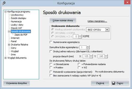 Podstawowe - Konfiguracja programu - Program faktury